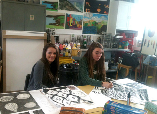 Truro School students at the Truro Combined Art workshop