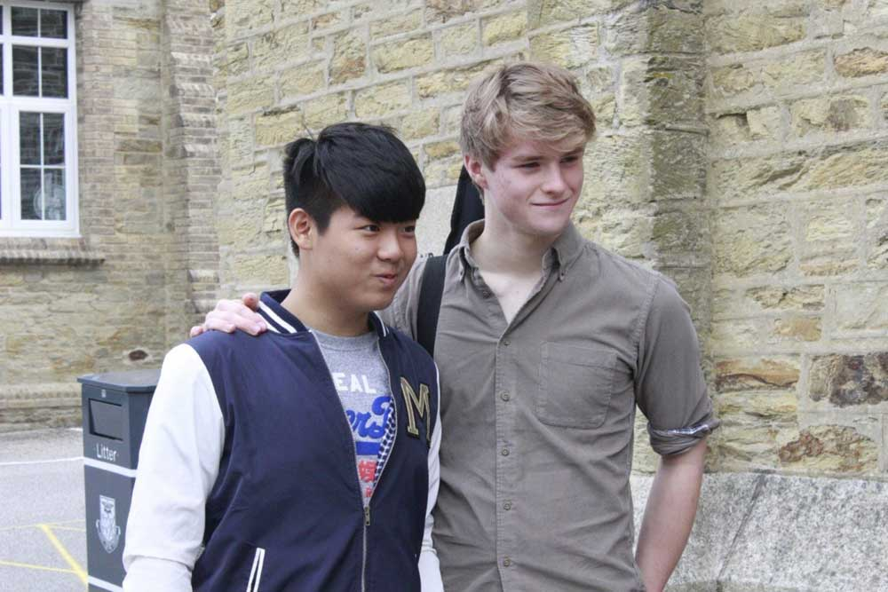 Truro School Pupil Cyrus (left) and Patrick (right) pictured together after The Voice auditions.