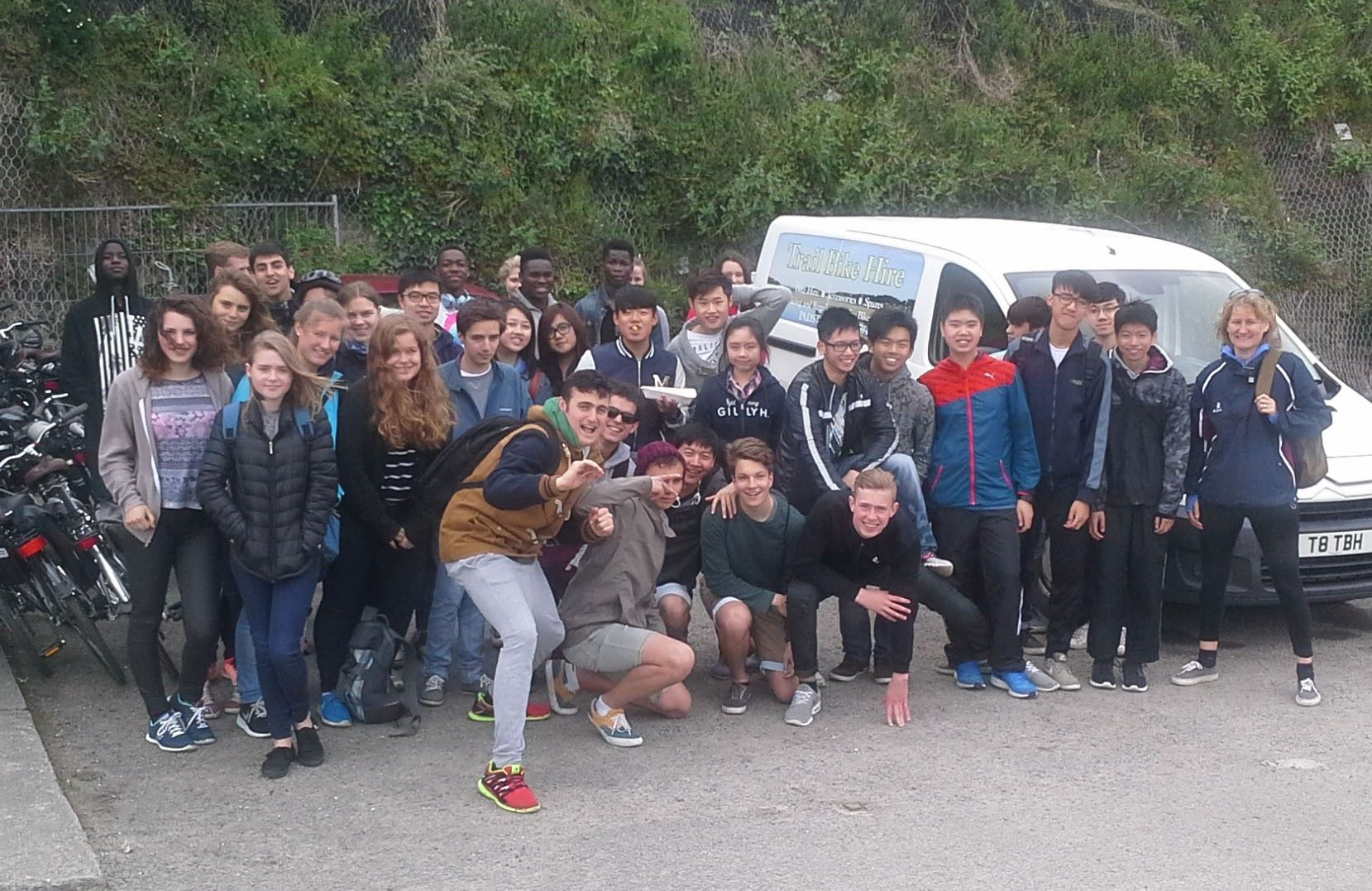 Students pictured at the start of the Camel Trail