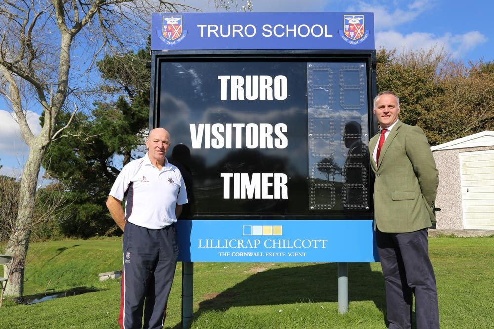 Rugby and Football outdoor electronic scoreboard at Truro School