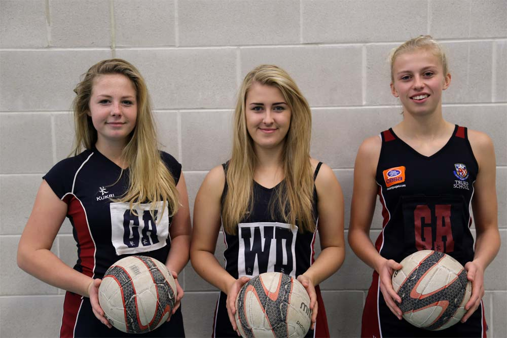 Truro School Netball Captains – Left to right, Molly Browne (Under 14s Captain), Rianna Snow (Under 18s Captain), Amy Pryor (Under 16's Captain).