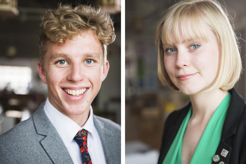 Head Boy, Toby Copeland and Head Girl, Phoebe Piercy.
