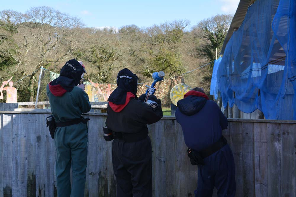 students go paintballing, cornwall