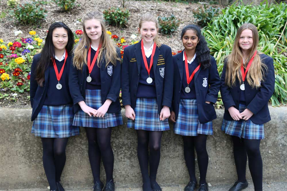Silver Medal Winning Girls' Badminton Team: Melissa, Sophie, Rosie, Nila and Elizabeth.